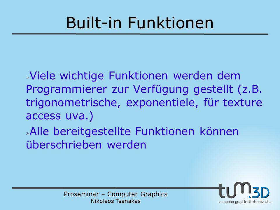 Proseminar – Computer Graphics Nikolaos Tsanakas computer graphics & visualization Built-in Funktionen  Viele wichtige Funktionen werden dem Programmierer zur Verfügung gestellt (z.B.