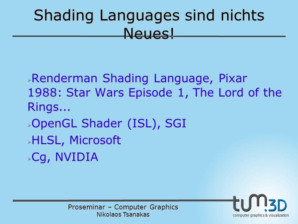 Proseminar – Computer Graphics Nikolaos Tsanakas computer graphics & visualization GLSL Overview  C/C++ Basis, von Renderman SL auch beeinflusst  Wichtige Erweiterungen  Nicht alle C Features unterstützt