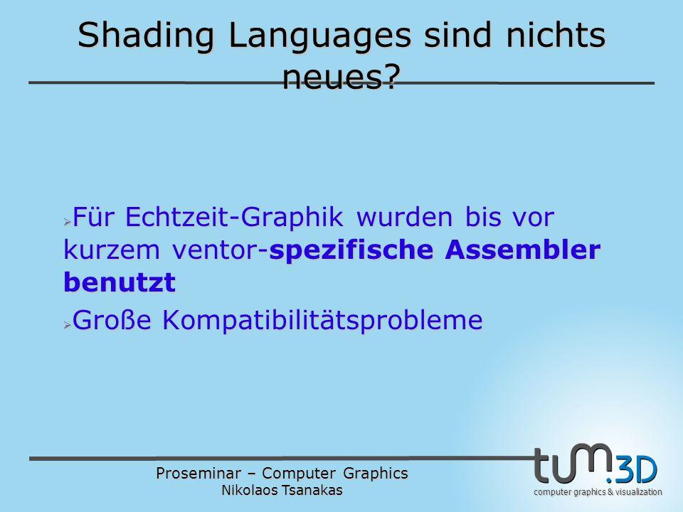 Proseminar – Computer Graphics Nikolaos Tsanakas computer graphics & visualization C als Basis  void main() {...} ist das Entry-Point für einen Set von Shaders (Vertex- und Fragment-Shaders)  Konstanten, Identifiers, Operatoren, Expressions, Statements wie in C  Benutzer-definierte Structures ähnlich zu C  Preprocessor