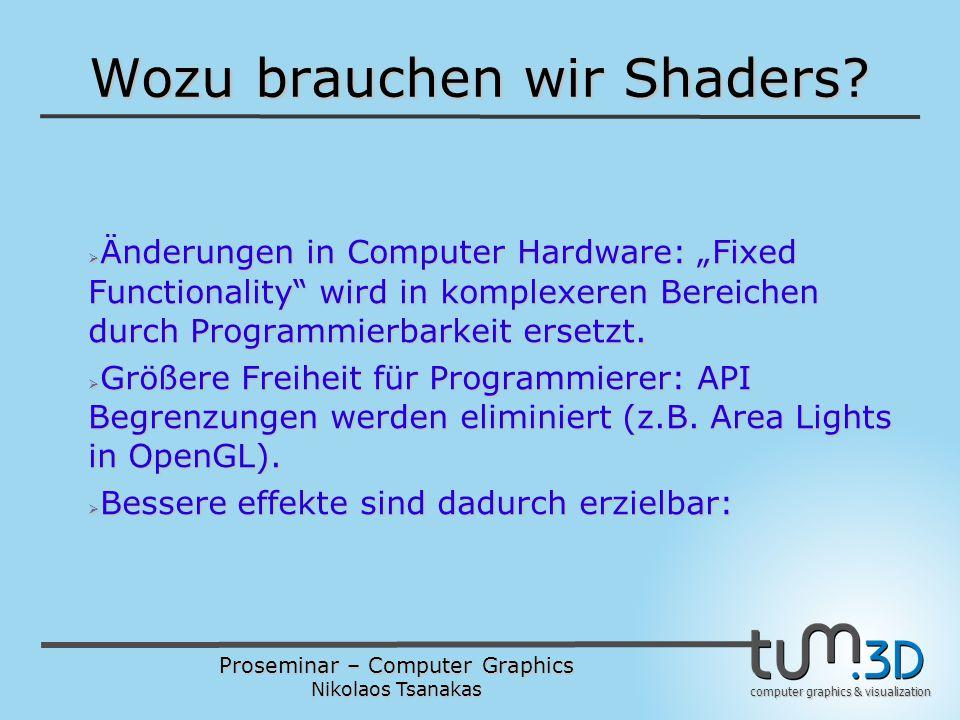 "Proseminar – Computer Graphics Nikolaos Tsanakas computer graphics & visualization Wichtige Erweiterungen Wichtige Erweiterungen  Matrizen und Vektoren sind Basis-Typen  Noch ein Basis-Typ: sampler  Qualifiers für Input- und Output- Management: attribute, uniform, varying, in, out, inout  Kommunikation mit OpenGL durch ""gl_ Variablen (gl_ModelViewMatrix, gl_Lightsource[i])"