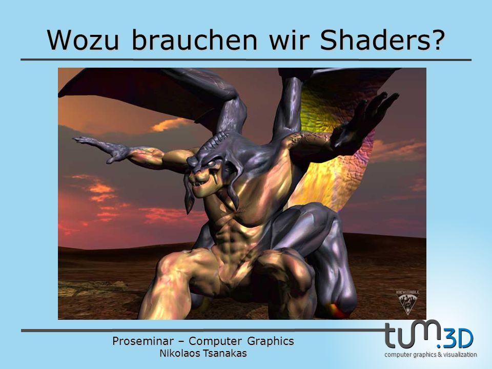 Proseminar – Computer Graphics Nikolaos Tsanakas computer graphics & visualization Wozu brauchen wir Shaders