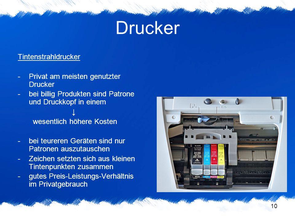10 Drucker Tintenstrahldrucker -Privat am meisten genutzter Drucker -bei billig Produkten sind Patrone und Druckkopf in einem ↓ wesentlich höhere Kost
