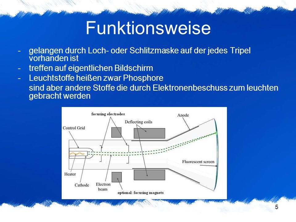 5 Funktionsweise -gelangen durch Loch- oder Schlitzmaske auf der jedes Tripel vorhanden ist -treffen auf eigentlichen Bildschirm -Leuchtstoffe heißen