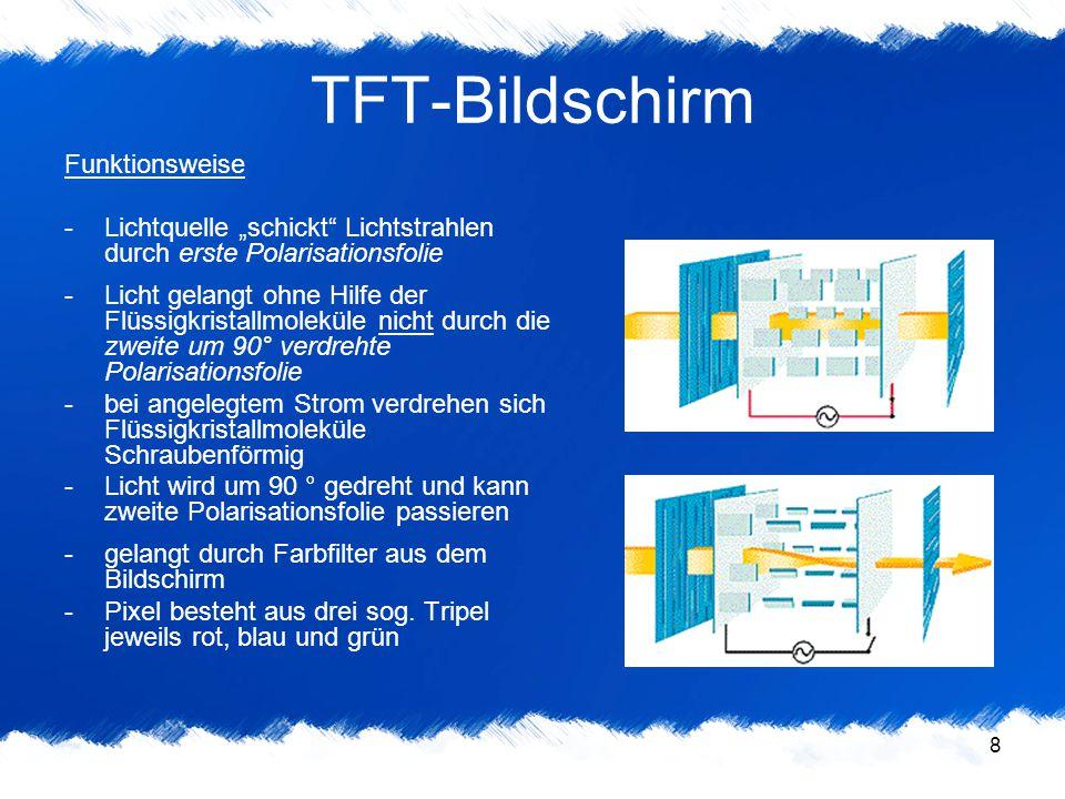 9 TFT-Bildschirm digitale DVI-Schnittstelle -TFT-Bildschirm kann digital angesprochen werden (DVI) -bessere Bildqualität als analoge VGA -setzt allerdings DVI-fähige Karte voraus