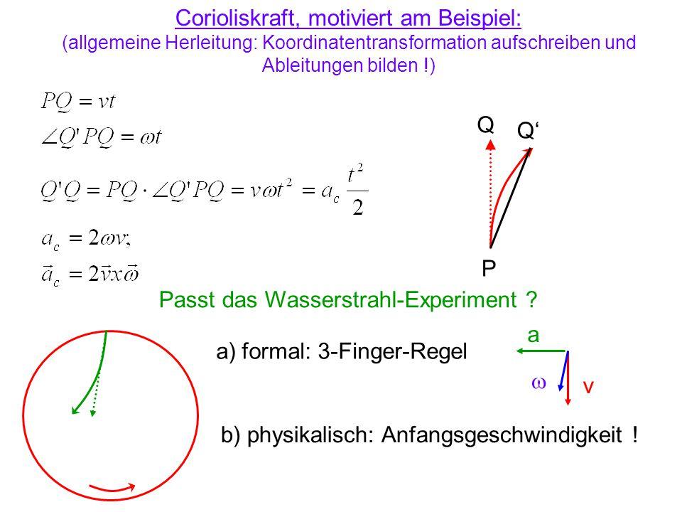 P Q Q' Corioliskraft, motiviert am Beispiel: (allgemeine Herleitung: Koordinatentransformation aufschreiben und Ableitungen bilden !) Passt das Wasser