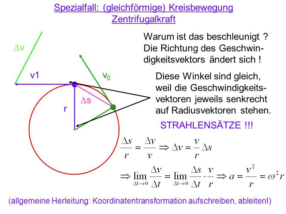 Spezialfall: (gleichförmige) Kreisbewegung Zentrifugalkraft Warum ist das beschleunigt ? Die Richtung des Geschwin- digkeitsvektors ändert sich ! v1 v