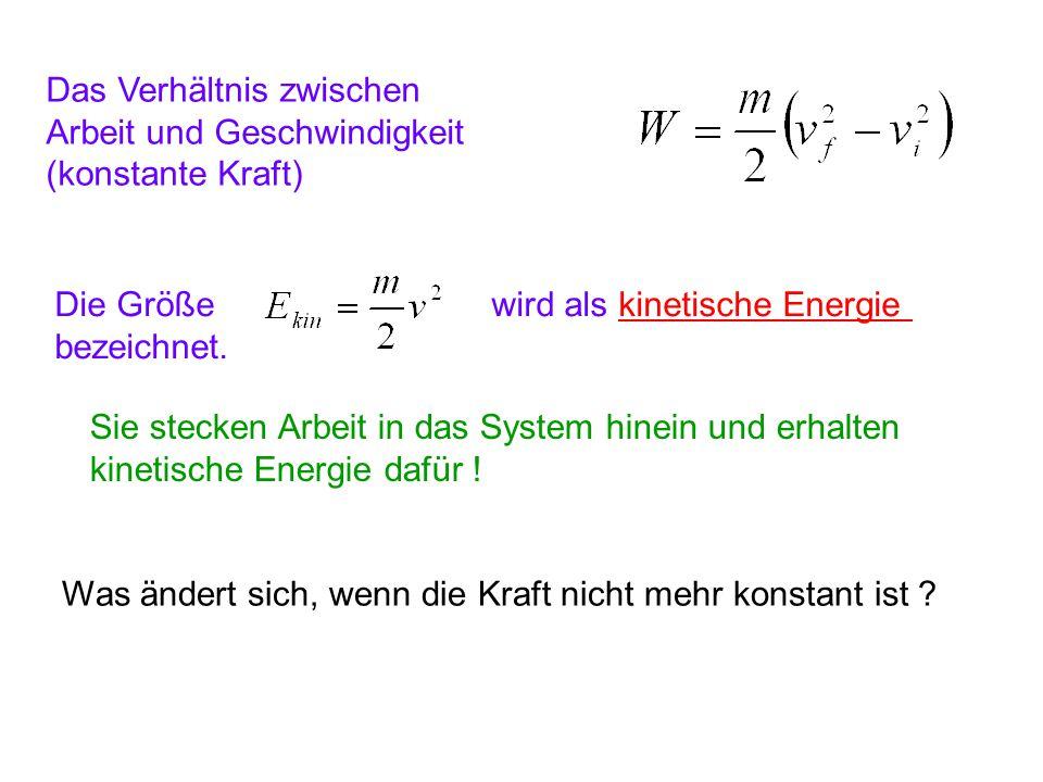 Das Verhältnis zwischen Arbeit und Geschwindigkeit (konstante Kraft) Die Größe wird als kinetische Energie bezeichnet. Sie stecken Arbeit in das Syste