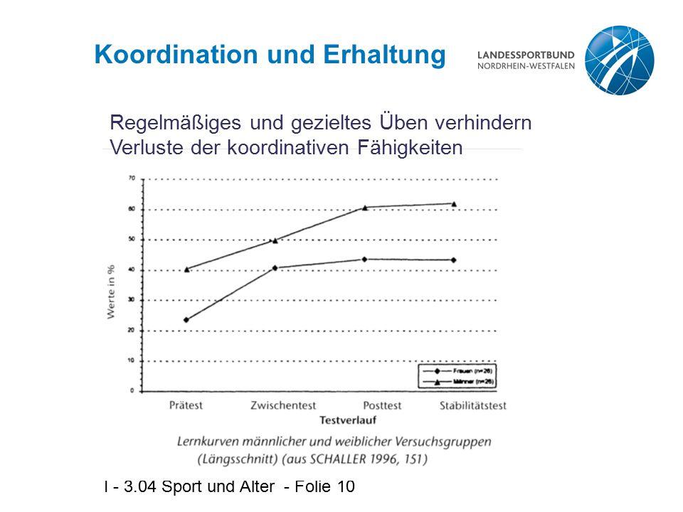 I - 3.04 Sport und Alter - Folie 10 Koordination und Erhaltung Regelmäßiges und gezieltes Üben verhindern Verluste der koordinativen Fähigkeiten