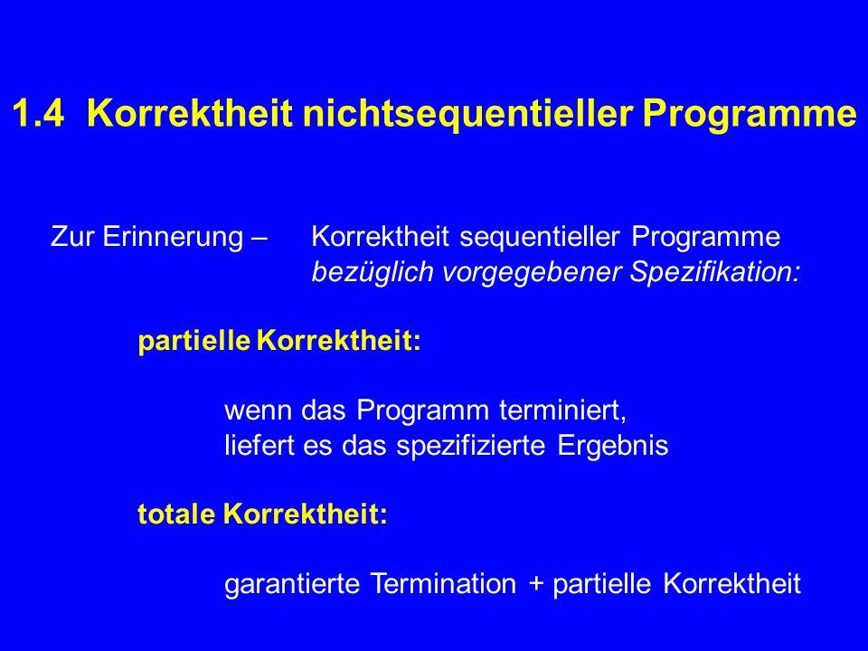 1.4 Korrektheit nichtsequentieller Programme Zur Erinnerung – Korrektheit sequentieller Programme bezüglich vorgegebener Spezifikation: partielle Korrektheit: wenn das Programm terminiert, liefert es das spezifizierte Ergebnis totale Korrektheit: garantierte Termination + partielle Korrektheit