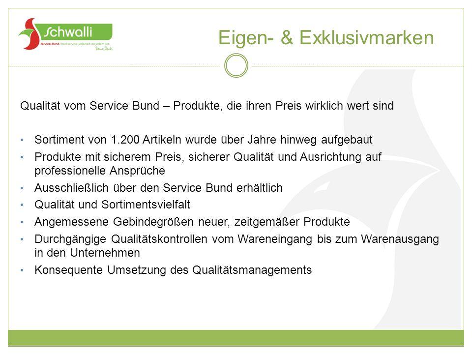 Eigen- & Exklusivmarken Qualität vom Service Bund – Produkte, die ihren Preis wirklich wert sind Sortiment von 1.200 Artikeln wurde über Jahre hinweg