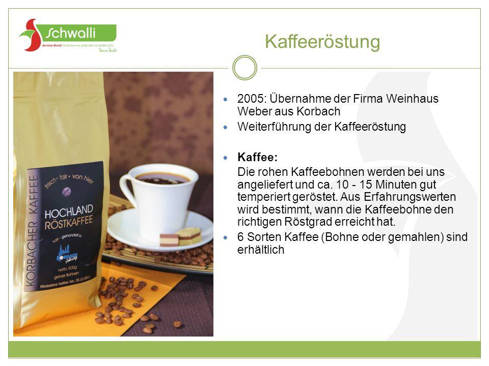 Kaffeeröstung 2005: Übernahme der Firma Weinhaus Weber aus Korbach Weiterführung der Kaffeeröstung Kaffee: Die rohen Kaffeebohnen werden bei uns angel
