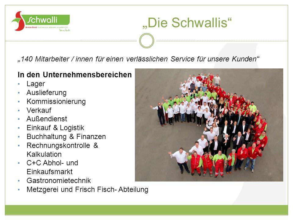 """"""" Die Schwallis"""" """" 140 Mitarbeiter / innen für einen verlässlichen Service für unsere Kunden """" In den Unternehmensbereichen Lager Auslieferung Kommiss"""