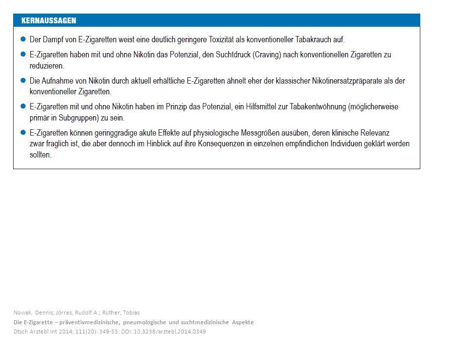 Nowak, Dennis; Jörres, Rudolf A.; Rüther, Tobias Die E-Zigarette – präventivmedizinische, pneumologische und suchtmedizinische Aspekte Dtsch Arztebl I