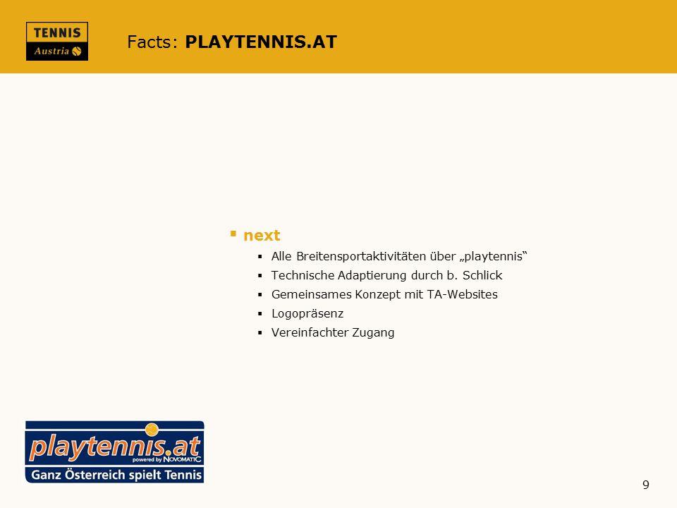 """Facts: PLAYTENNIS.AT  next  Alle Breitensportaktivitäten über """"playtennis  Technische Adaptierung durch b."""