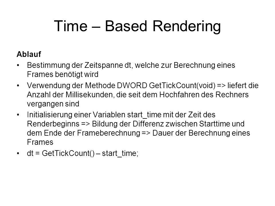 Time – Based Rendering Ablauf Bestimmung der Zeitspanne dt, welche zur Berechnung eines Frames benötigt wird Verwendung der Methode DWORD GetTickCount