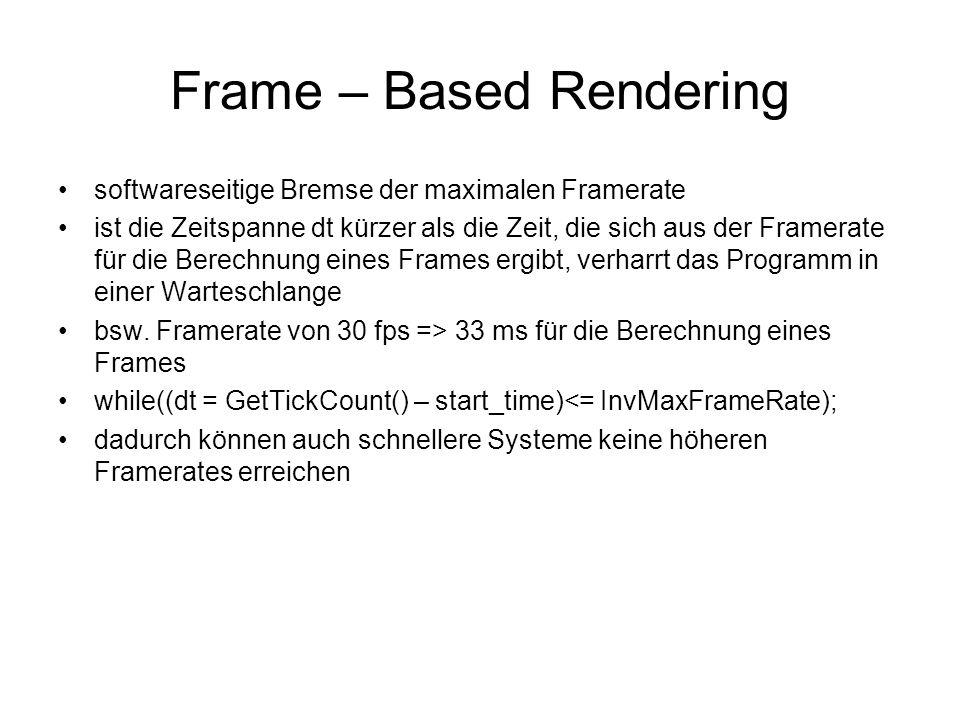 Frame – Based Rendering softwareseitige Bremse der maximalen Framerate ist die Zeitspanne dt kürzer als die Zeit, die sich aus der Framerate für die Berechnung eines Frames ergibt, verharrt das Programm in einer Warteschlange bsw.