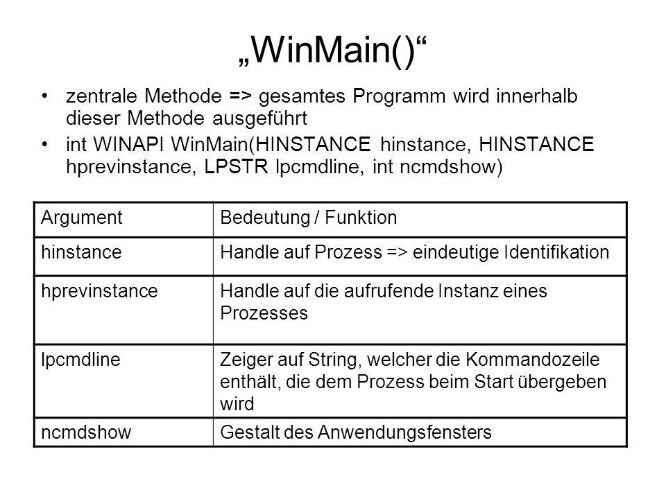 """""""WinMain() zentrale Methode => gesamtes Programm wird innerhalb dieser Methode ausgeführt int WINAPI WinMain(HINSTANCE hinstance, HINSTANCE hprevinstance, LPSTR lpcmdline, int ncmdshow) ArgumentBedeutung / Funktion hinstanceHandle auf Prozess => eindeutige Identifikation hprevinstanceHandle auf die aufrufende Instanz eines Prozesses lpcmdlineZeiger auf String, welcher die Kommandozeile enthält, die dem Prozess beim Start übergeben wird ncmdshowGestalt des Anwendungsfensters"""