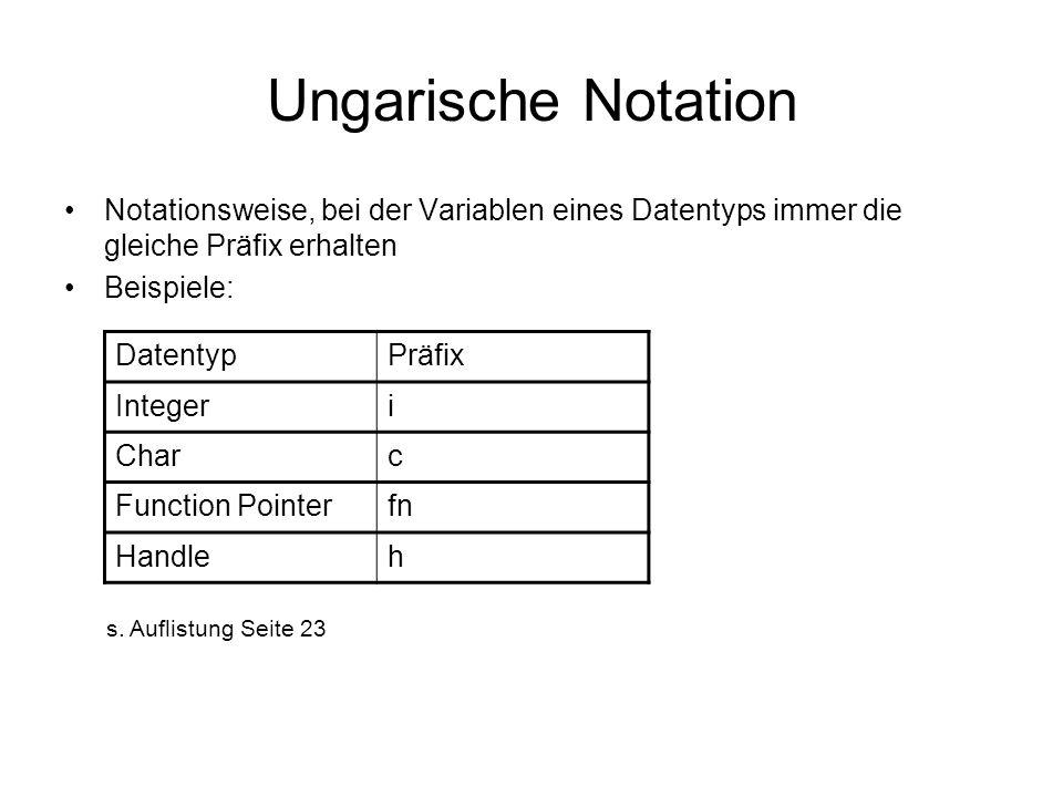 Ungarische Notation Notationsweise, bei der Variablen eines Datentyps immer die gleiche Präfix erhalten Beispiele: DatentypPräfix Integeri Charc Function Pointerfn Handleh s.