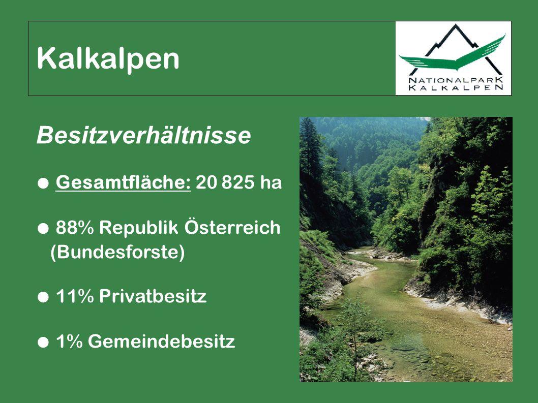 Kalkalpen Besitzverhältnisse ● Gesamtfläche: 20 825 ha ● 88% Republik Österreich (Bundesforste) ● 11% Privatbesitz ● 1% Gemeindebesitz