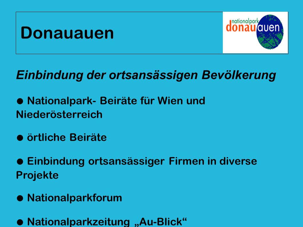 Donauauen Einbindung der ortsansässigen Bevölkerung ● Nationalpark- Beiräte für Wien und Niederösterreich ● örtliche Beiräte ● Einbindung ortsansässig
