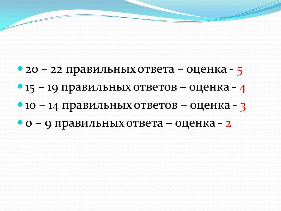 20 – 22 правильных ответа – оценка - 5 15 – 19 правильных ответов – оценка - 4 10 – 14 правильных ответов – оценка - 3 0 – 9 правильных ответа – оценка - 2