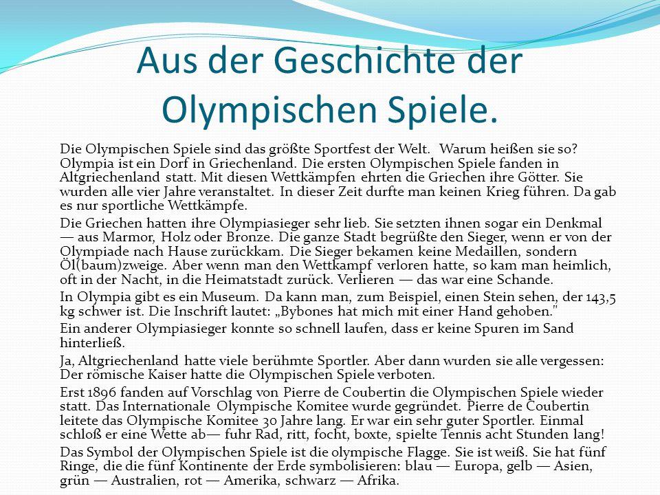 Aus der Geschichte der Olympischen Spiele.