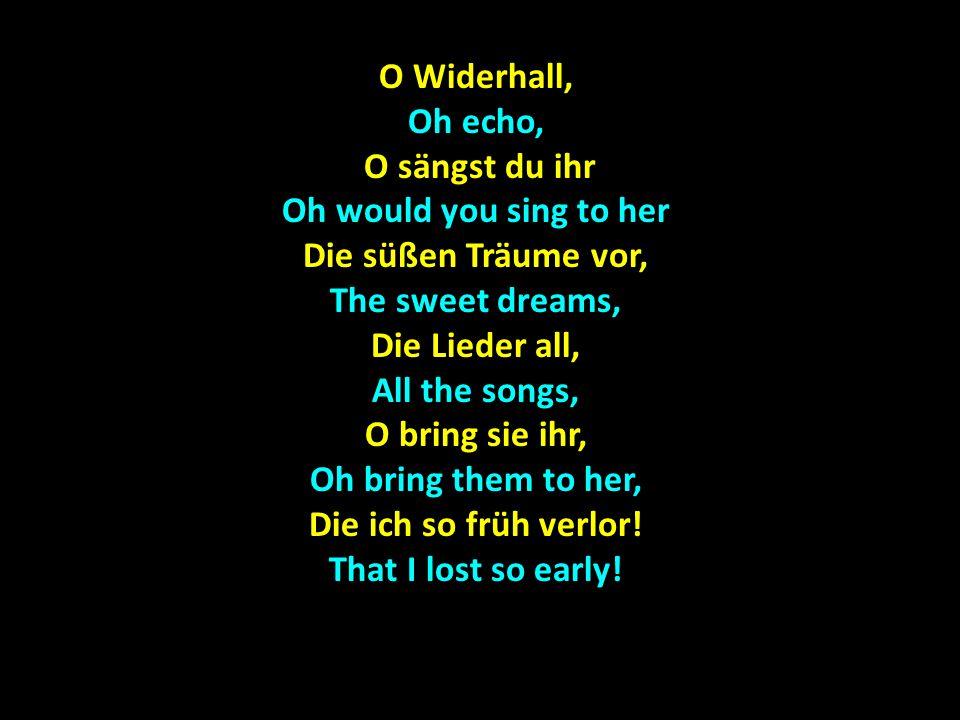 Im Herzen tief, Deep in the heart, Da rauscht der Wald, Da rauscht der Wald, There rustles the forest, In dem mein Liebchen geht, In which my darling goes, In Schmerzen schlief In pain slept Der Widerhall, The echo, Die Lieder sind verweht.