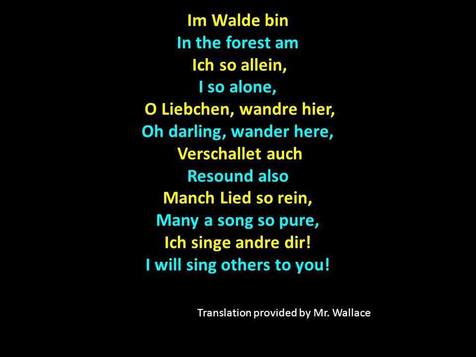 Im Walde bin In the forest am Ich so allein, I so alone, Ich so allein, I so alone, O Liebchen, wandre hier, O Liebchen, wandre hier, Oh darling, wander here, Verschallet auch Verschallet auch Resound also Manch Lied so rein, Many a song so pure, Ich singe andre dir.