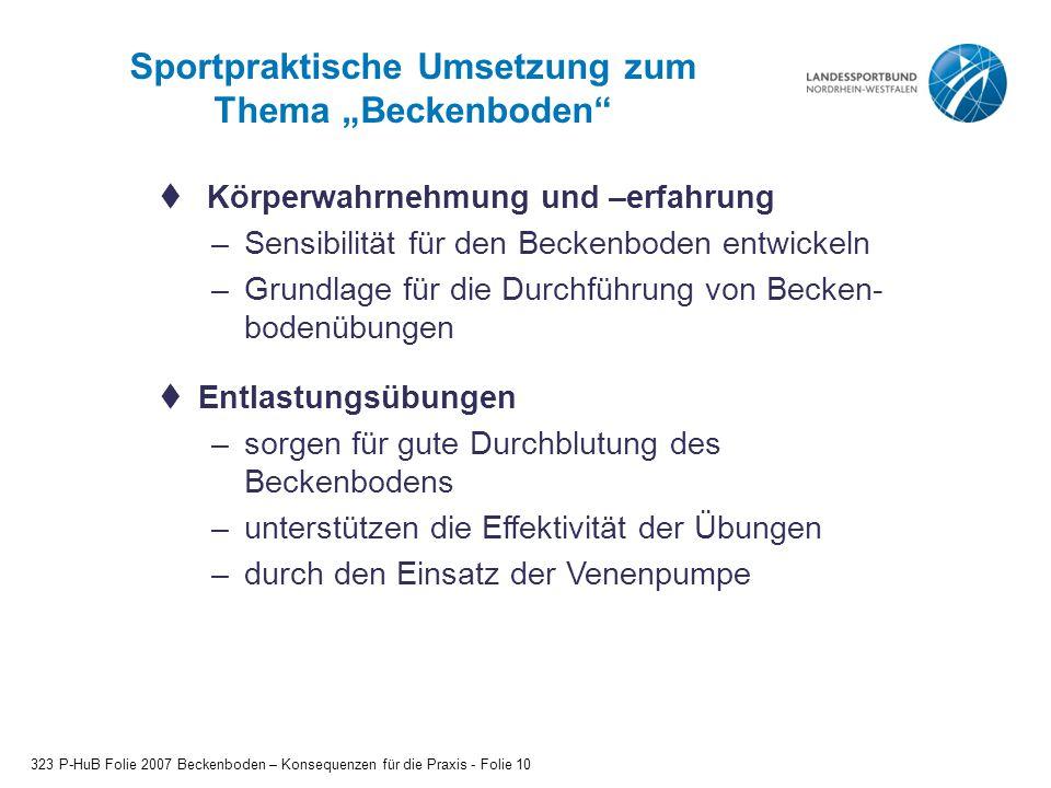 """Sportpraktische Umsetzung zum Thema """"Beckenboden"""" 323 P-HuB Folie 2007 Beckenboden – Konsequenzen für die Praxis - Folie 10  Körperwahrnehmung und –e"""