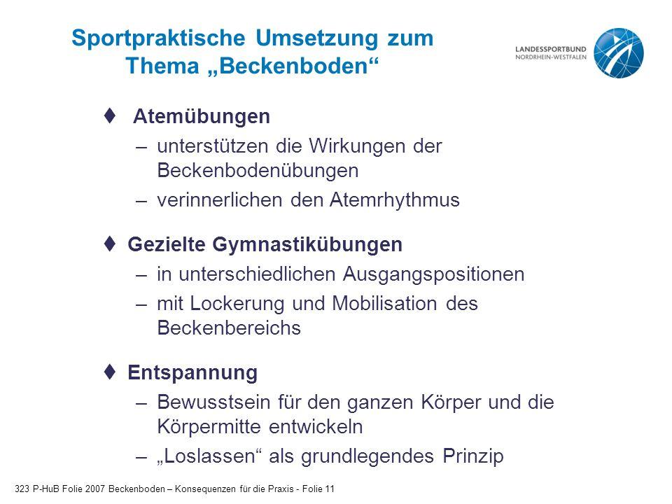 """Sportpraktische Umsetzung zum Thema """"Beckenboden"""" 323 P-HuB Folie 2007 Beckenboden – Konsequenzen für die Praxis - Folie 11  Atemübungen –unterstütze"""
