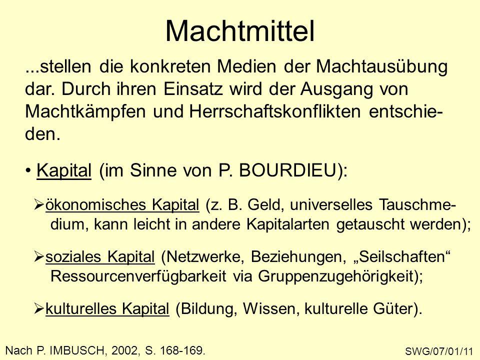 Machtmittel SWG/07/01/11 Nach P. IMBUSCH, 2002, S. 168-169....stellen die konkreten Medien der Machtausübung dar. Durch ihren Einsatz wird der Ausgang