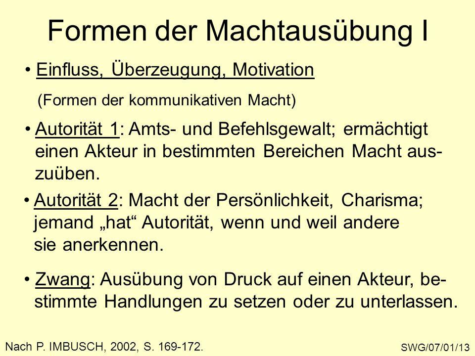 Formen der Machtausübung I SWG/07/01/13 Nach P. IMBUSCH, 2002, S. 169-172. Einfluss, Überzeugung, Motivation (Formen der kommunikativen Macht) Autorit