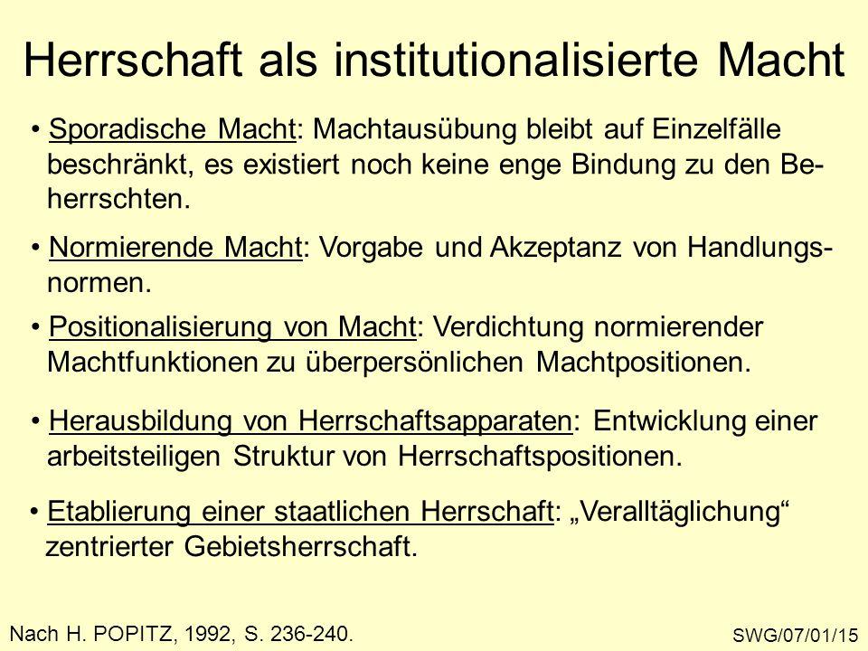 Herrschaft als institutionalisierte Macht SWG/07/01/15 Nach H. POPITZ, 1992, S. 236-240. Sporadische Macht: Machtausübung bleibt auf Einzelfälle besch