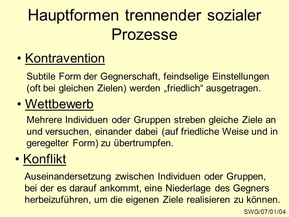 Hauptformen trennender sozialer Prozesse SWG/07/01/04 Kontravention Wettbewerb Konflikt Subtile Form der Gegnerschaft, feindselige Einstellungen (oft