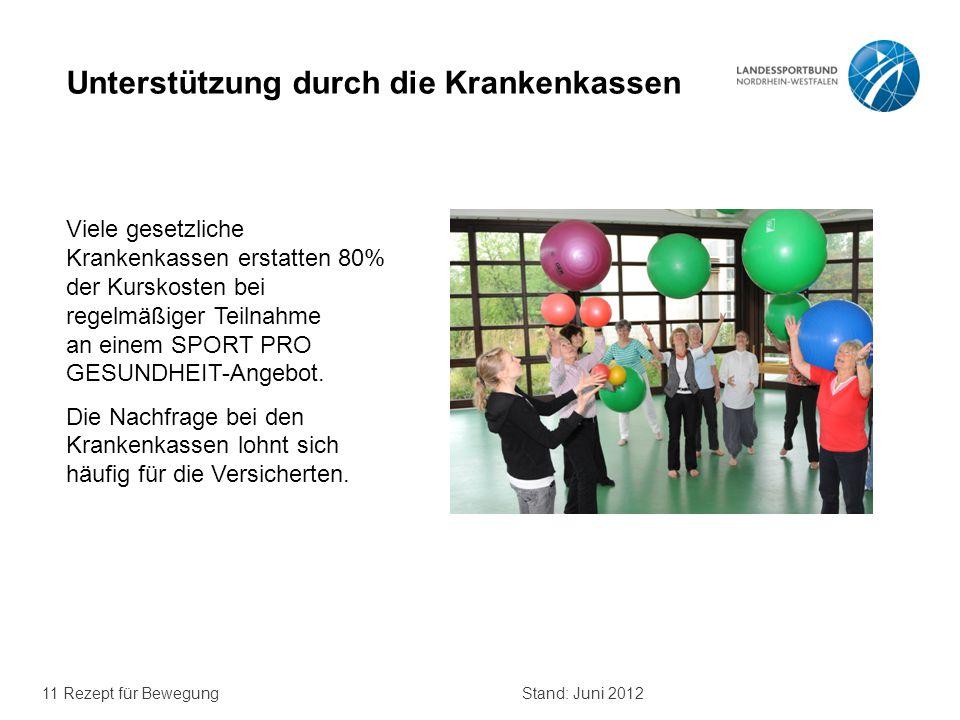 11 Rezept für BewegungStand: Juni 2012 Unterstützung durch die Krankenkassen Viele gesetzliche Krankenkassen erstatten 80% der Kurskosten bei regelmäß