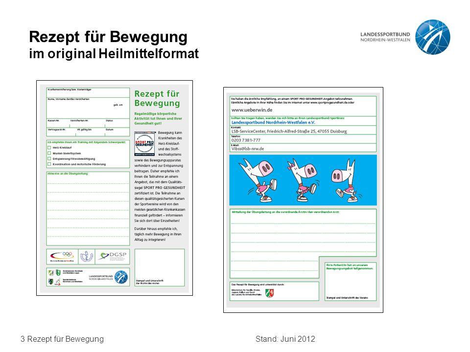 3 Rezept für BewegungStand: Juni 2012 Rezept für Bewegung im original Heilmittelformat