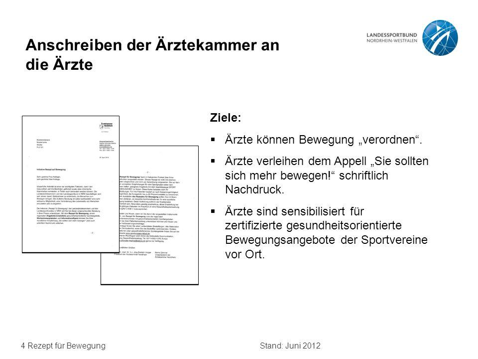 """4 Rezept für BewegungStand: Juni 2012 Anschreiben der Ärztekammer an die Ärzte Ziele:  Ärzte können Bewegung """"verordnen"""".  Ärzte verleihen dem Appel"""