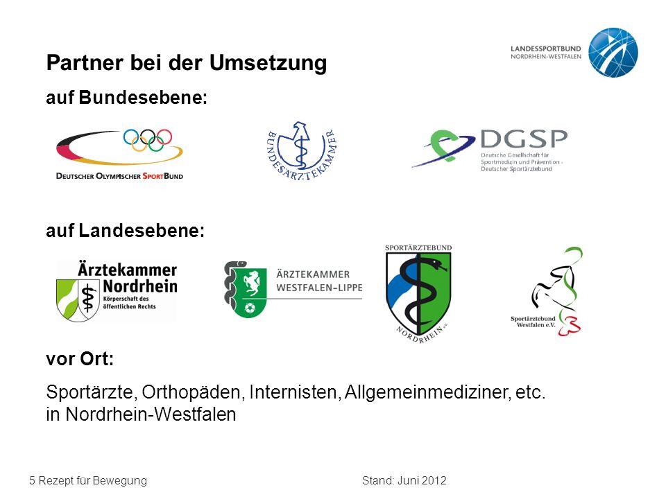 5 Rezept für BewegungStand: Juni 2012 Partner bei der Umsetzung auf Bundesebene: auf Landesebene: vor Ort: Sportärzte, Orthopäden, Internisten, Allgem