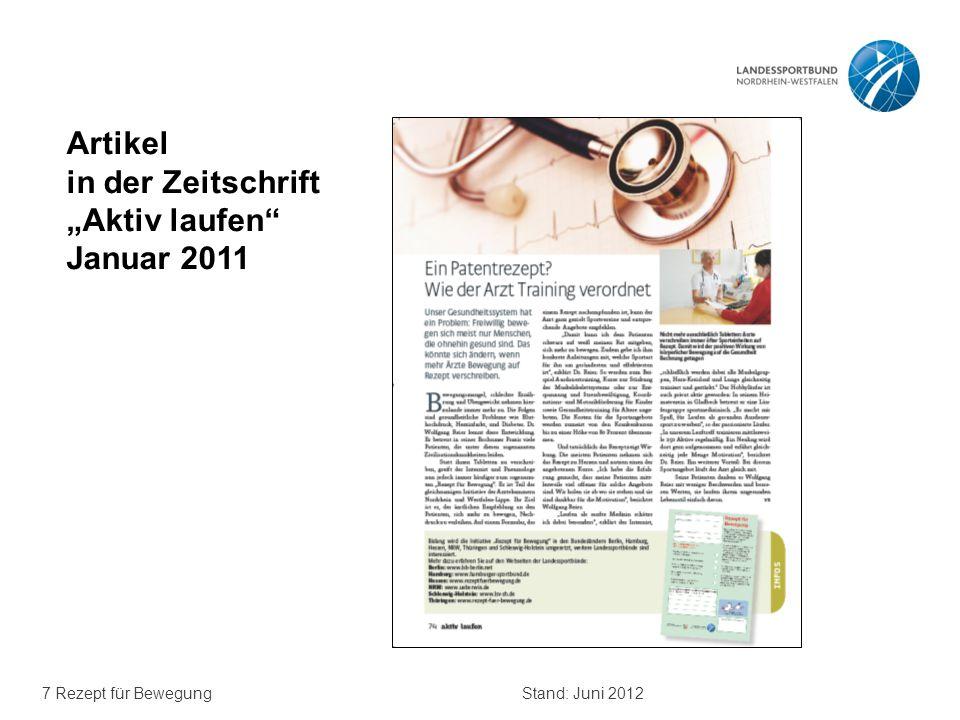 """7 Rezept für BewegungStand: Juni 2012 Artikel in der Zeitschrift """"Aktiv laufen"""" Januar 2011"""