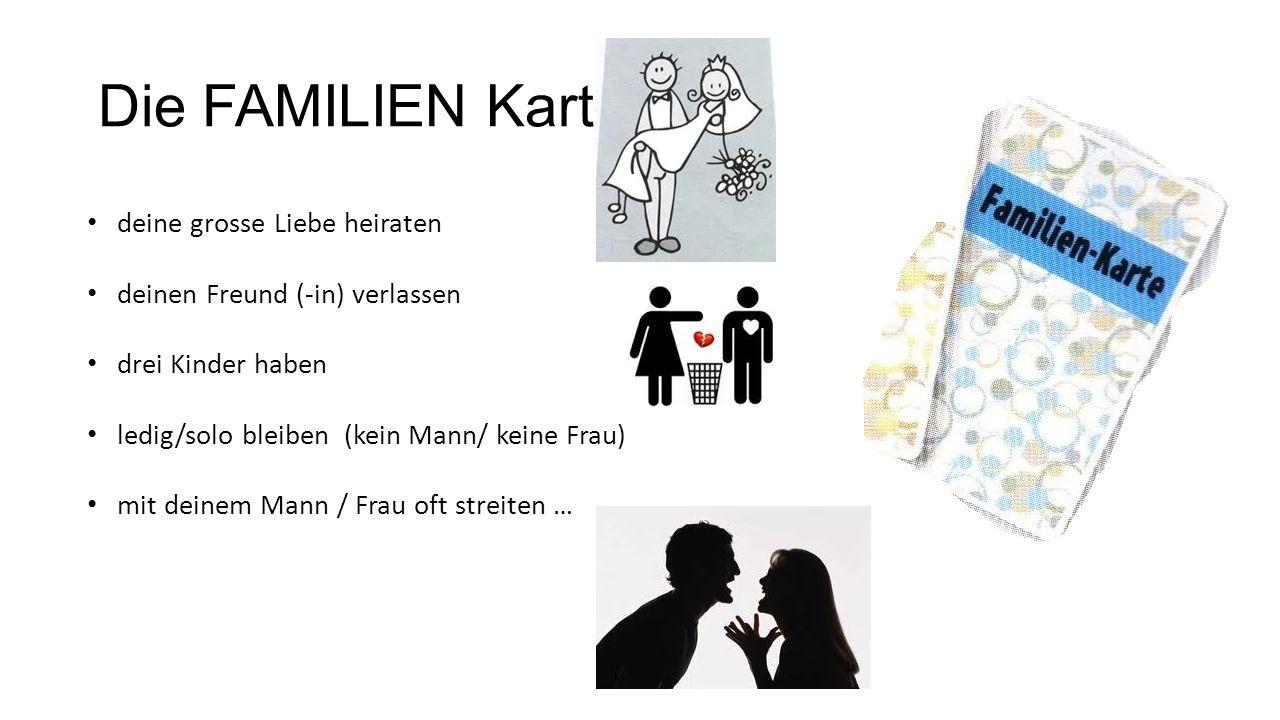 Die FAMILIEN Karte deine grosse Liebe heiraten deinen Freund (-in) verlassen drei Kinder haben ledig/solo bleiben (kein Mann/ keine Frau) mit deinem M