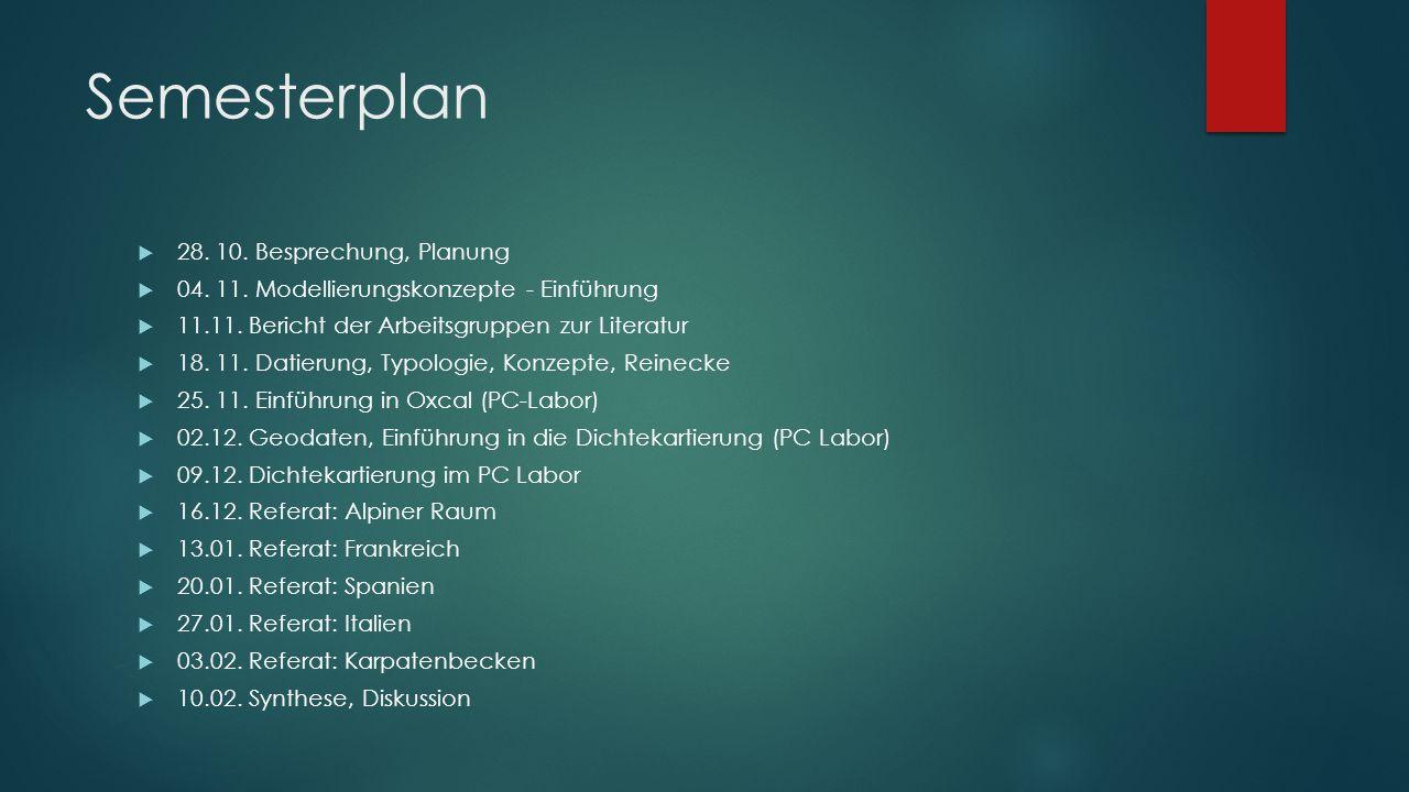 Semesterplan  28. 10. Besprechung, Planung  04. 11. Modellierungskonzepte - Einführung  11.11. Bericht der Arbeitsgruppen zur Literatur  18. 11. D