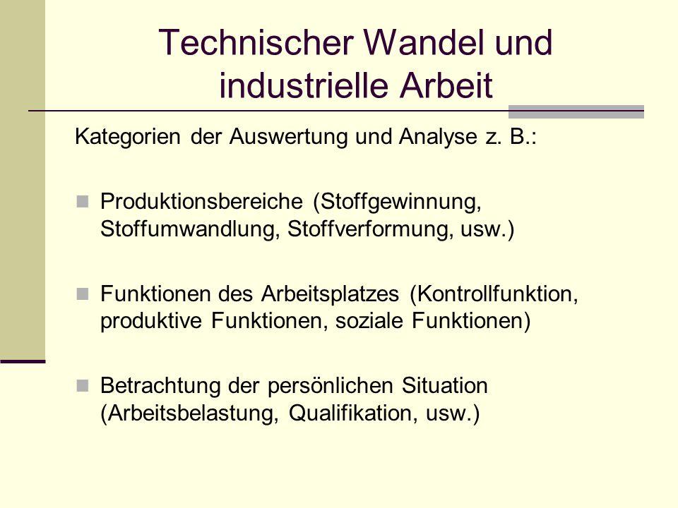Technischer Wandel und industrielle Arbeit Kategorien der Auswertung und Analyse z.