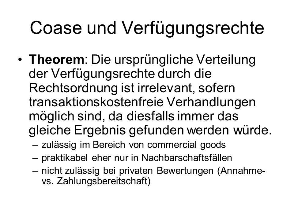 Coase und Verfügungsrechte Theorem: Die ursprüngliche Verteilung der Verfügungsrechte durch die Rechtsordnung ist irrelevant, sofern transaktionskostenfreie Verhandlungen möglich sind, da diesfalls immer das gleiche Ergebnis gefunden werden würde.