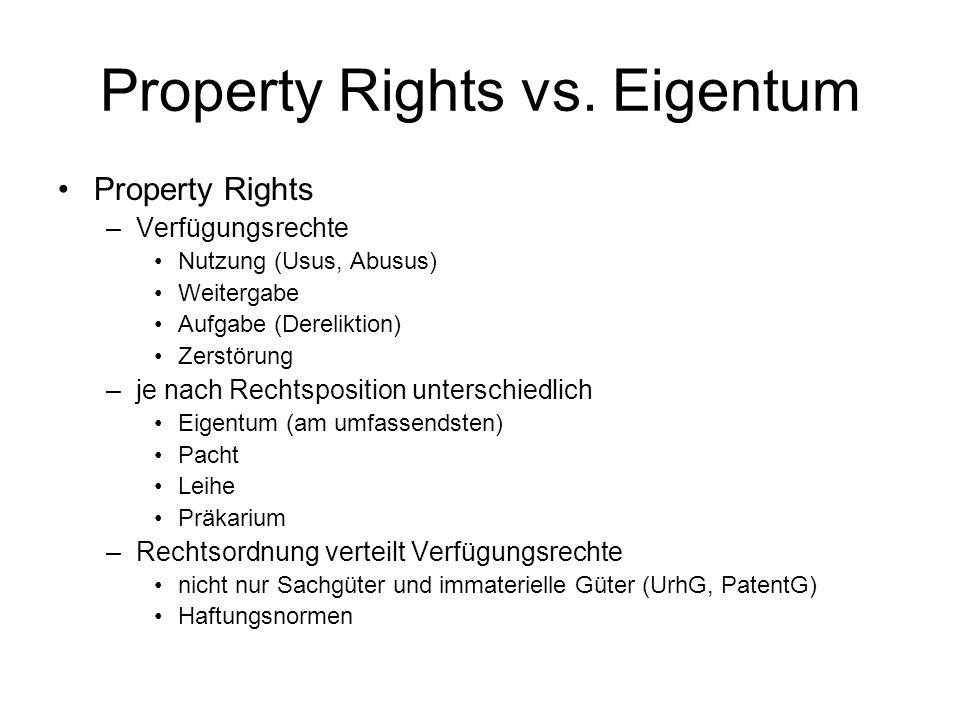 Property Rights vs. Eigentum Property Rights –Verfügungsrechte Nutzung (Usus, Abusus) Weitergabe Aufgabe (Dereliktion) Zerstörung –je nach Rechtsposit