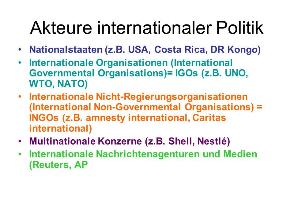 Akteure internationaler Politik Nationalstaaten (z.B. USA, Costa Rica, DR Kongo) Internationale Organisationen (International Governmental Organisatio