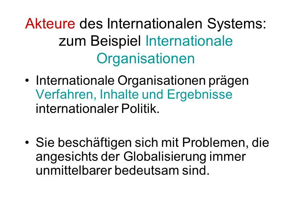 Akteure des Internationalen Systems: zum Beispiel Internationale Organisationen Internationale Organisationen prägen Verfahren, Inhalte und Ergebnisse