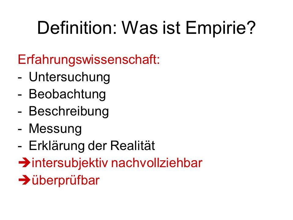 Definition: Was ist Empirie? Erfahrungswissenschaft: -Untersuchung -Beobachtung -Beschreibung -Messung -Erklärung der Realität  intersubjektiv nachvo