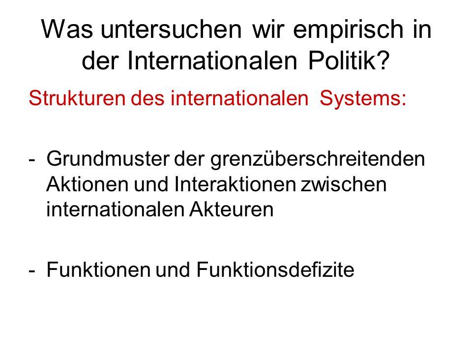 Was untersuchen wir empirisch in der Internationalen Politik? Strukturen des internationalen Systems: -Grundmuster der grenzüberschreitenden Aktionen