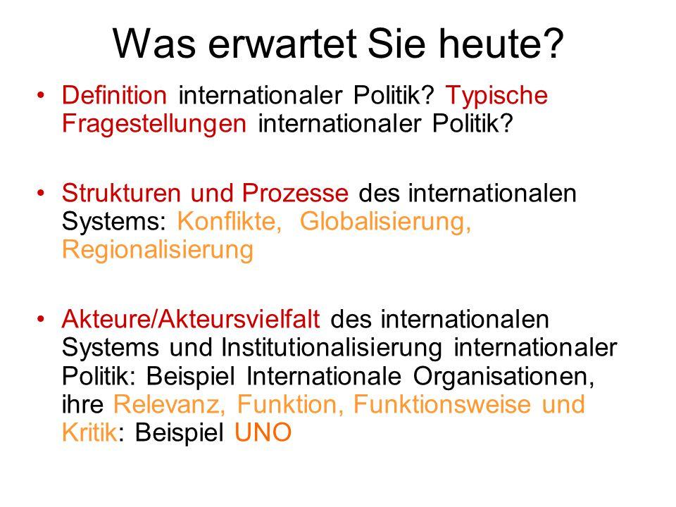 Was erwartet Sie heute? Definition internationaler Politik? Typische Fragestellungen internationaler Politik? Strukturen und Prozesse des internationa
