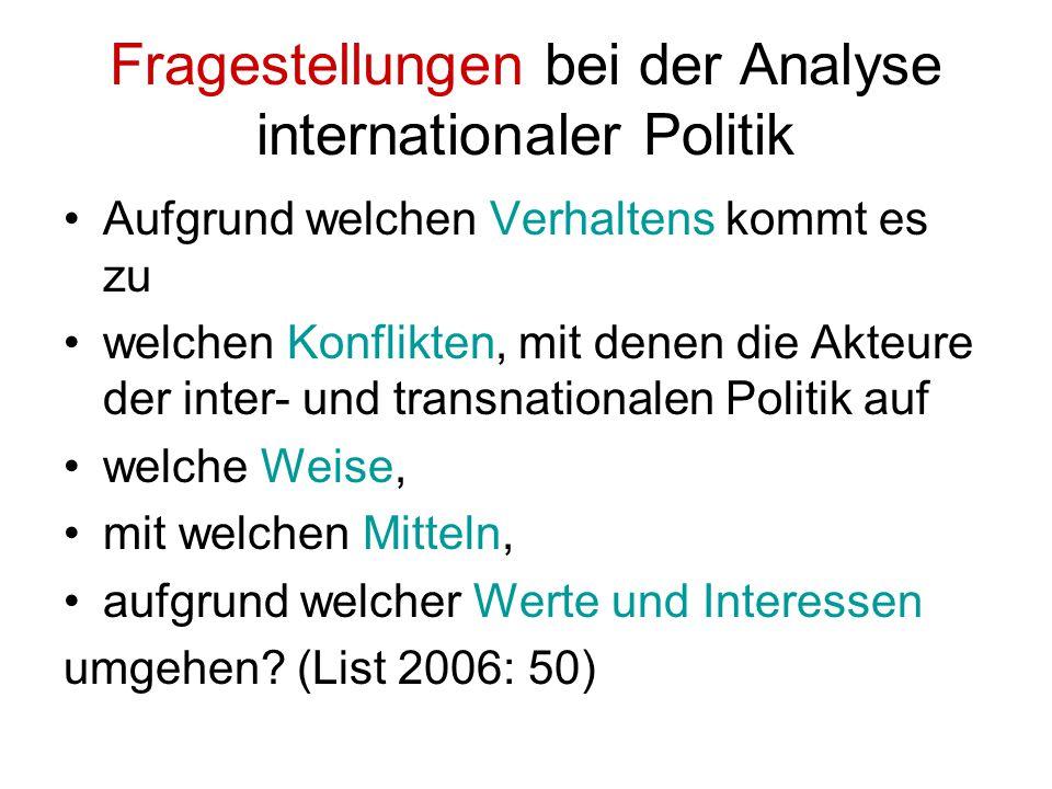 Fragestellungen bei der Analyse internationaler Politik Aufgrund welchen Verhaltens kommt es zu welchen Konflikten, mit denen die Akteure der inter- u